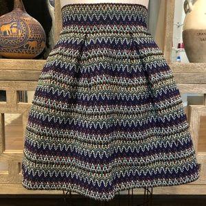 Blue A-line Woven Flare Miniskirt